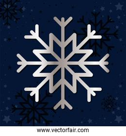 snowflake of silver color on blue background