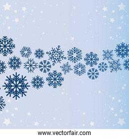 set of snowflakes on blue background