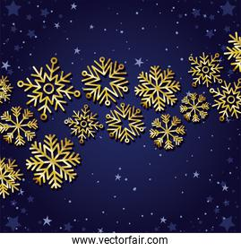 set of gold snowflakes on dark blue background