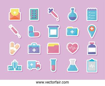set of medical icons with pink background