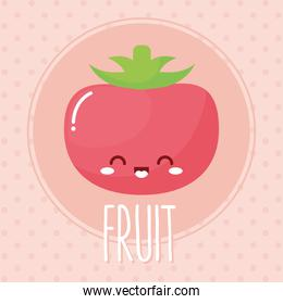 tomato kawaii fruit with a smile and fruit lettering
