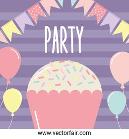 party letterig with cupcake and garlands