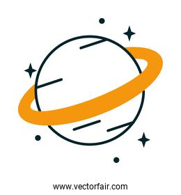 icon of saturn planet with stars around, half line half color style