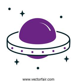 icon of flying saucer with stars around, half line half color style