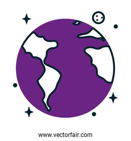 earth planet icon, half line half color style