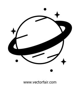 icon of saturn planet with stars around, line style