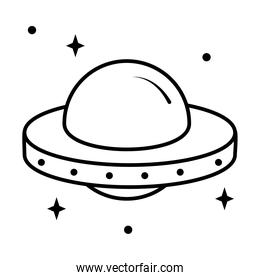 icon of flying saucer with stars around, line style