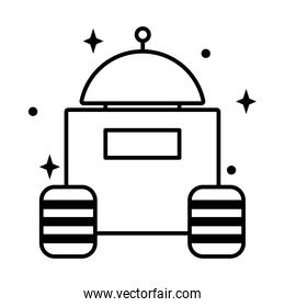 space robot icon, line style