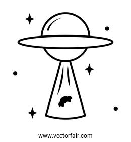 icon of flying Saucer abducting a car, line style