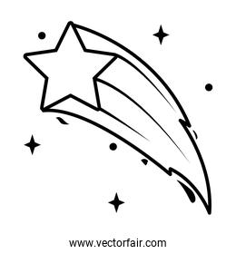 shooting star icon, line style
