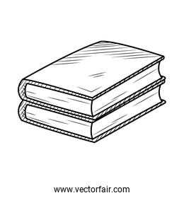 icon of two books in stack, hand draw style