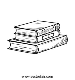 three books in stack icon, hand draw style