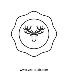 Hipster reindeer in seal stamp line style icon