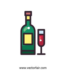 wine bottle and cup vector design