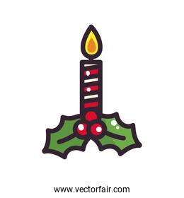 merry christmas candle with leaves vector design