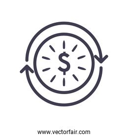 dollar coin with repeat arrows line style icon vector design