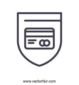 credit card inside shield line style icon vector design
