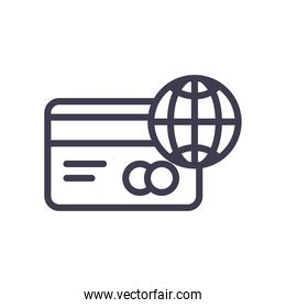 credit card and global sphere line style icon vector design