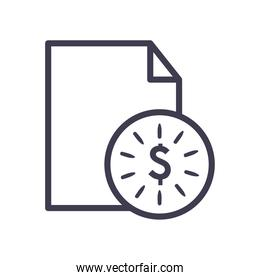 dollar coin with document line style icon vector design