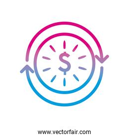 dollar coin with repeat arrows gradient style icon vector design