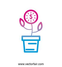 dollar coin plant gradient style icon vector design