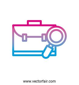 suitcase bag and lupe gradient style icon vector design