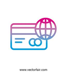 credit card and global sphere gradient style icon vector design