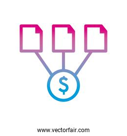 dollar coin with documents gradient style icon vector design