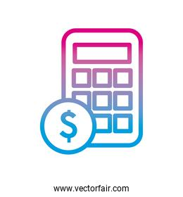 dollar coin and calculator gradient style icon vector design