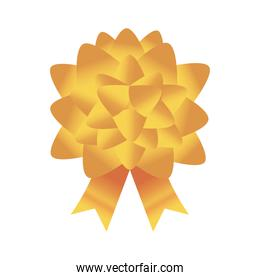 Gold gift bow gold in sphere shape vector design