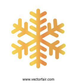 snowflake of winter season gold icon vector design