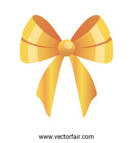 Gift bow gold icon vector design