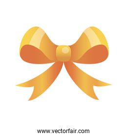 Gift bow gold isolated vector design