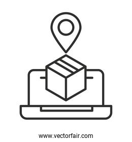online delivery laptop tracking order pin line style design
