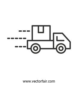 delivery truck with cardboard box transport line style design