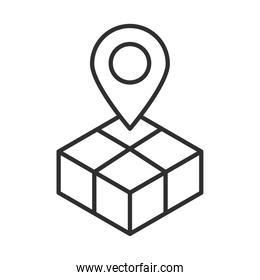 delivery box map pointer location line style design