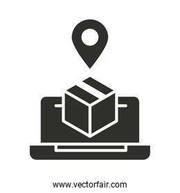 online delivery laptop tracking order pin silhouette icon