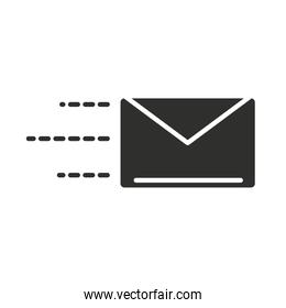 delivery mail courier correspondence silhouette icon