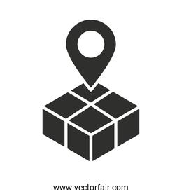 delivery box map pointer location silhouette icon
