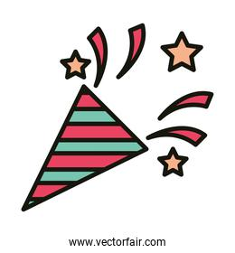 happy birthday horn confetti decoration celebration party, line and fill style