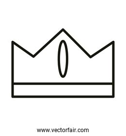 cartoon crown monarchy royalty gem celebration party, line icon style
