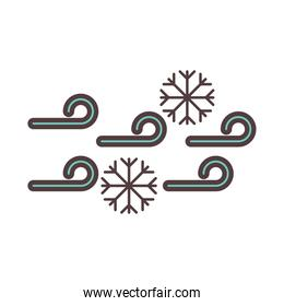 weather cold snowflakes winter line and fill style