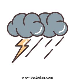 weather stormy thunder and rain season line and fill style