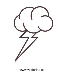weather cloud lightning storm nature line icon style