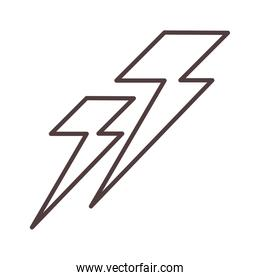weather lightning power stormy line icon style