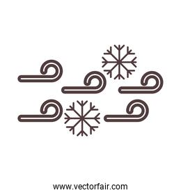 weather cold snowflakes winter line icon style