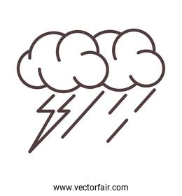 weather stormy thunder and rain season line icon style