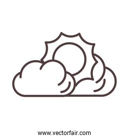 weather sun clouds summer hot line icon style