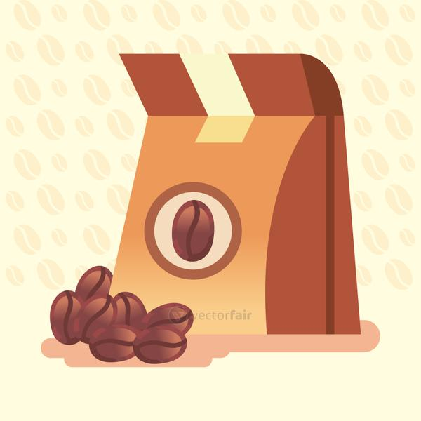 coffee bag with beans vector design
