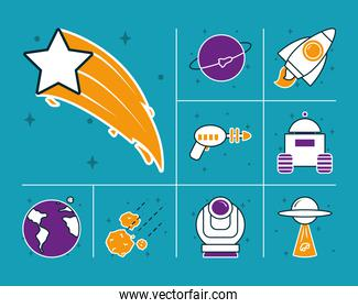 shooting star and space icons set, half line half color style